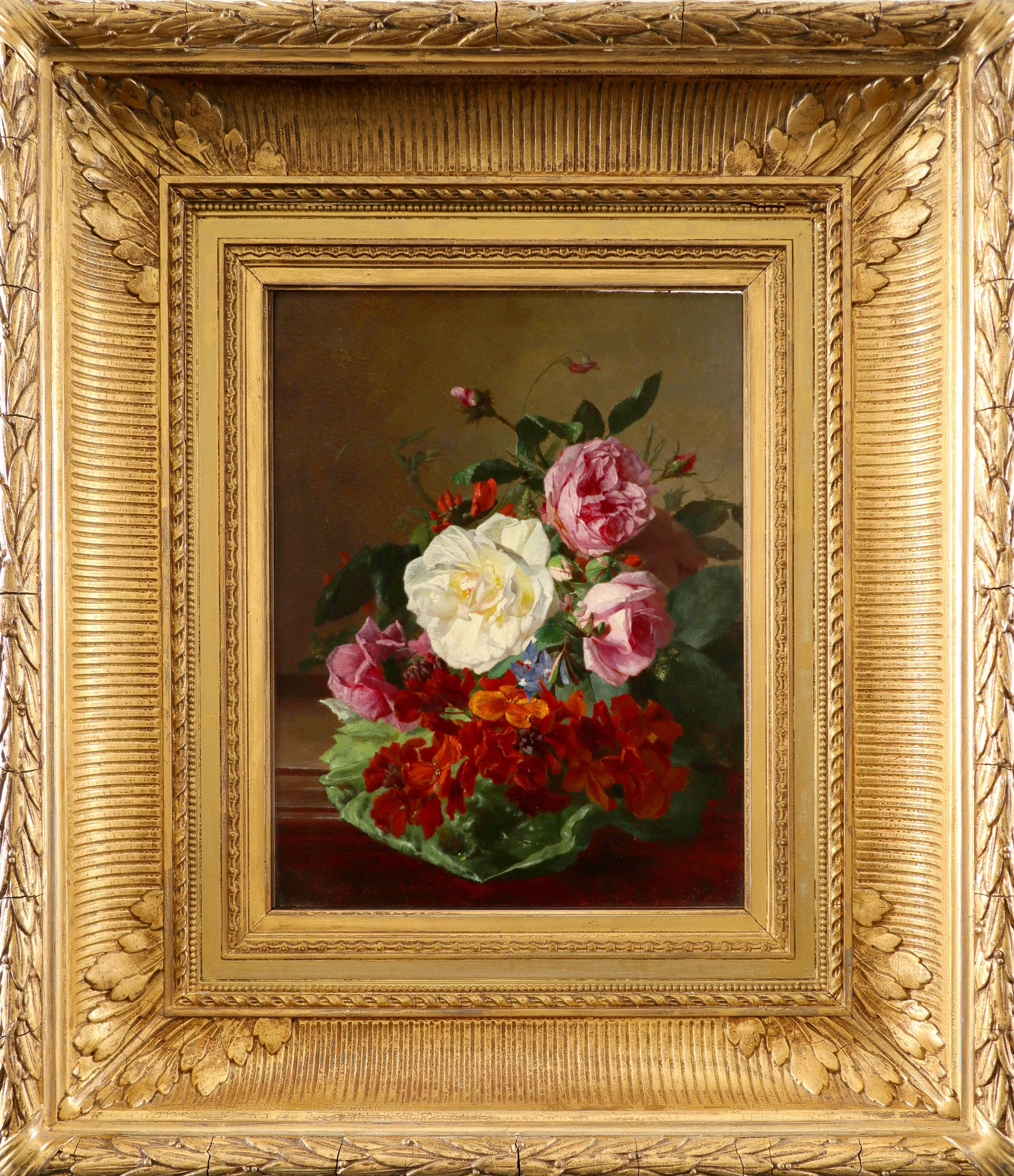 David Emil Joseph De Noter (Belgian 1825-1875) Still life with flowers on a ledge Signed David de - Image 2 of 3
