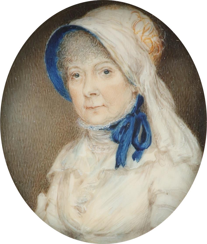 λEnglish School 19th Century Portrait miniature of a lady, wearing a white dress and blue lined