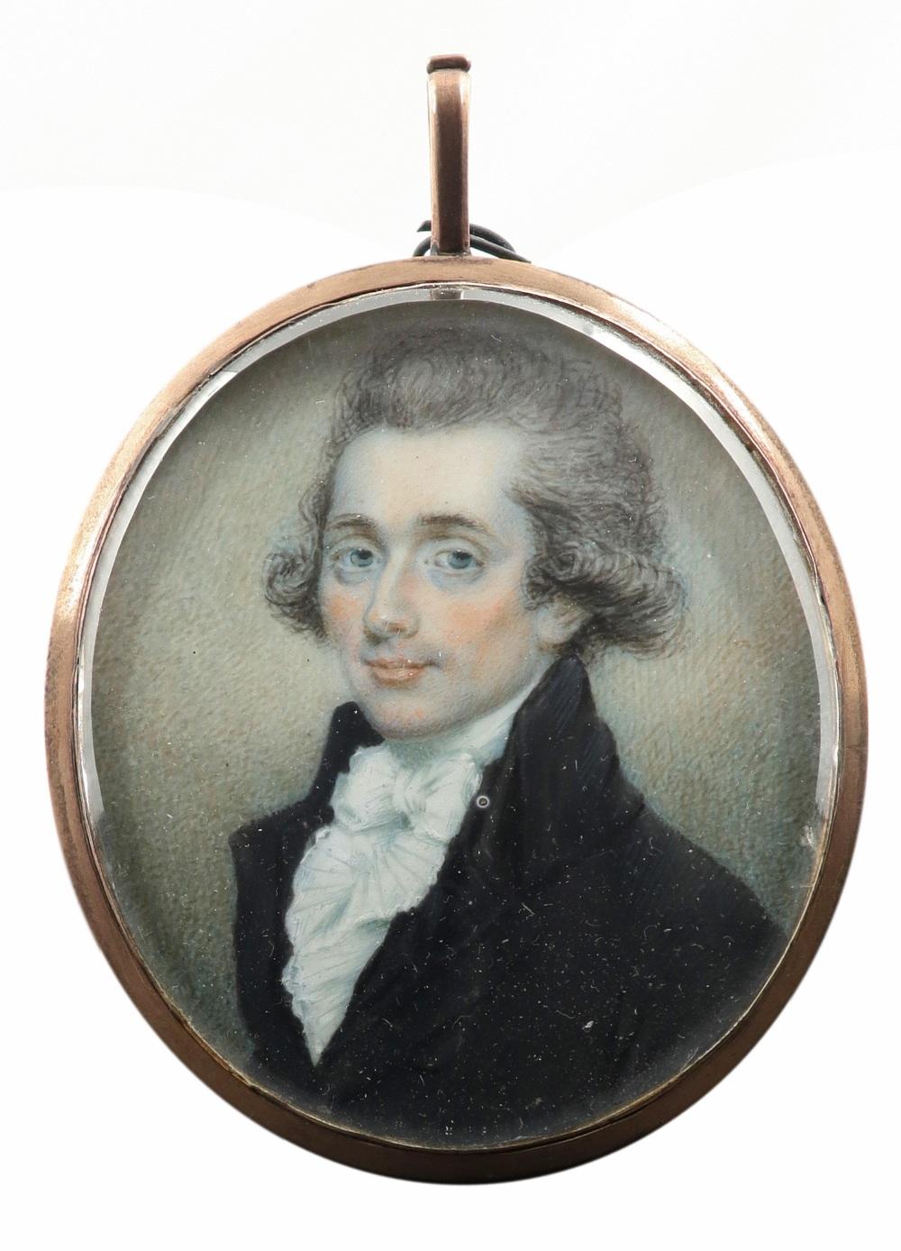 λEnglish School late 18th Century Portrait miniature of a gentleman, wearing a black coat, and