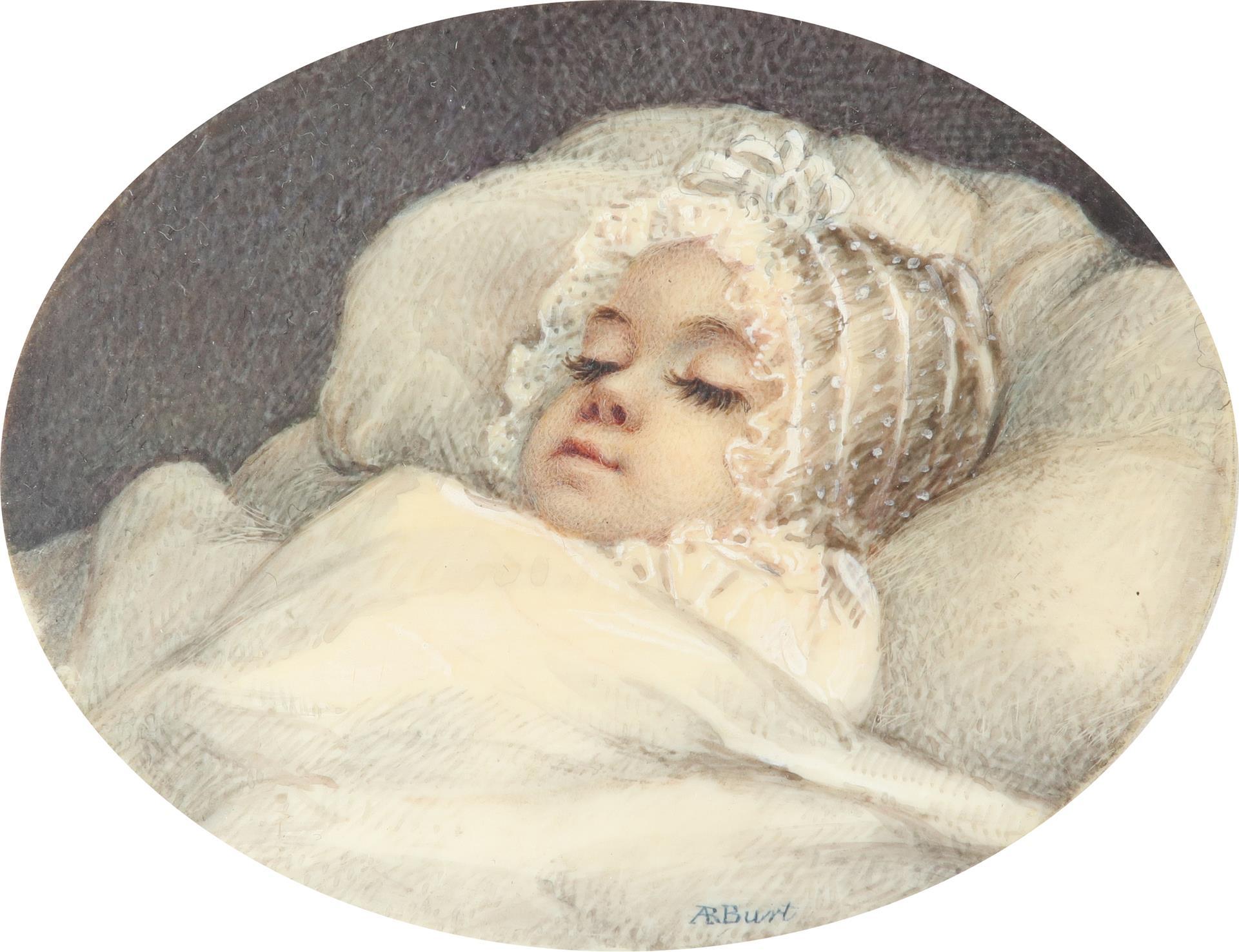 λAlbin Roberts Burt (1783-1842) Portrait of a sleeping baby Signed AR Burt (lower centre), and