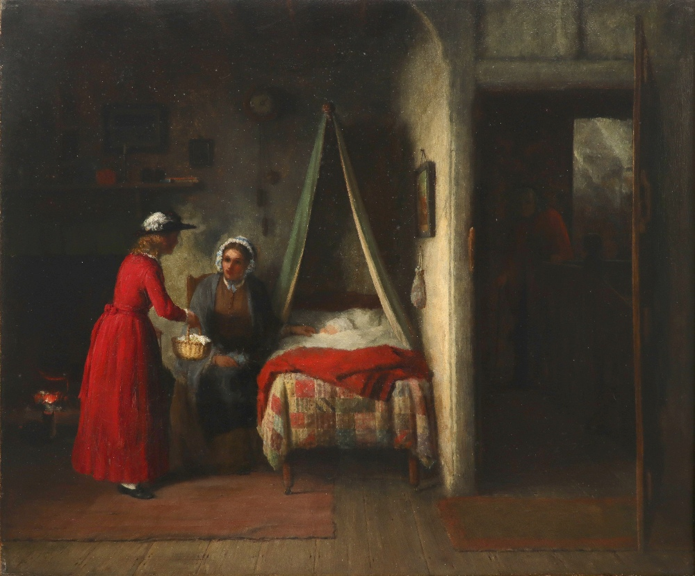 Frederick Daniel Hardy (1827-1911) Interior with two figures conversing whilst a child sleeps Signed