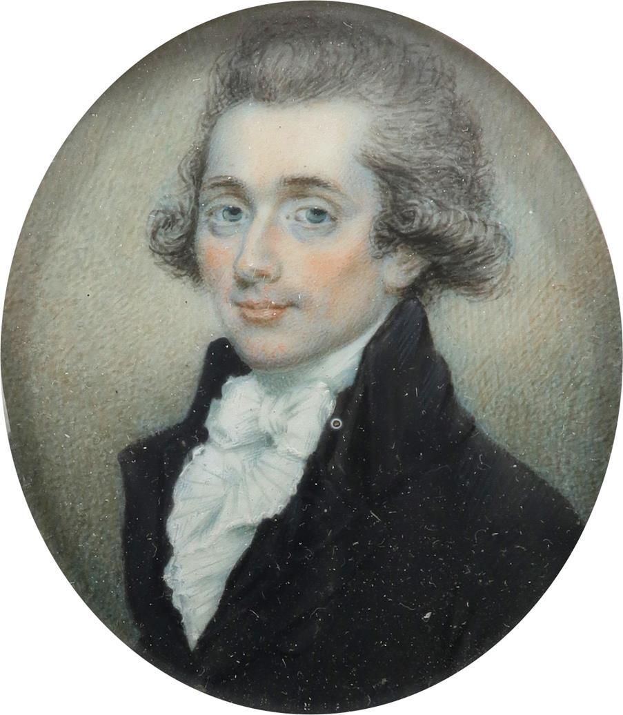 λEnglish School late 18th Century Portrait miniature of a gentleman, wearing a black coat, and - Image 2 of 3