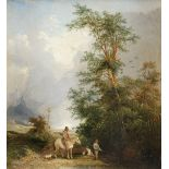 Henry John Boddington (1811-1865) Landscape with a man on horseback and two boys fishing in a stream