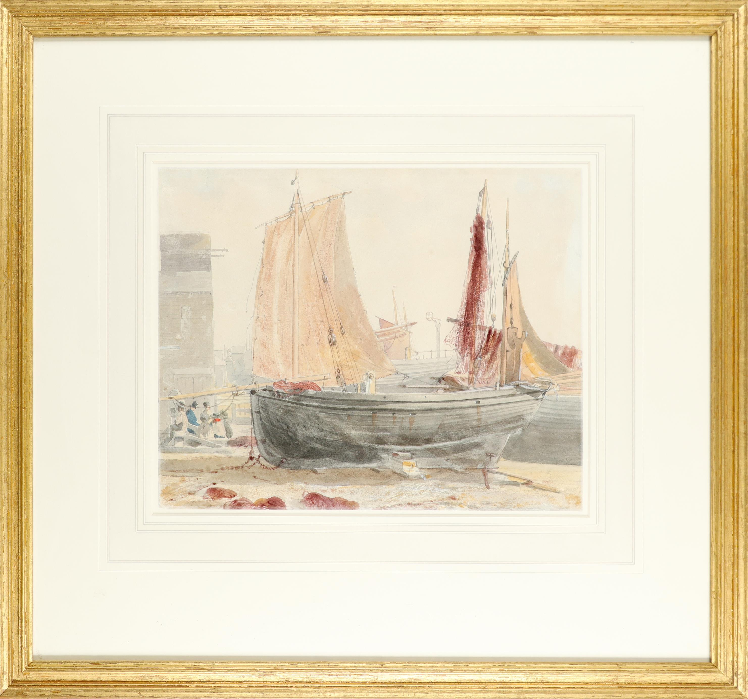 Circle of William Henry Hunt Boats moored on a beach, possibly Hastings Watercolour and pencil 22. - Image 2 of 3