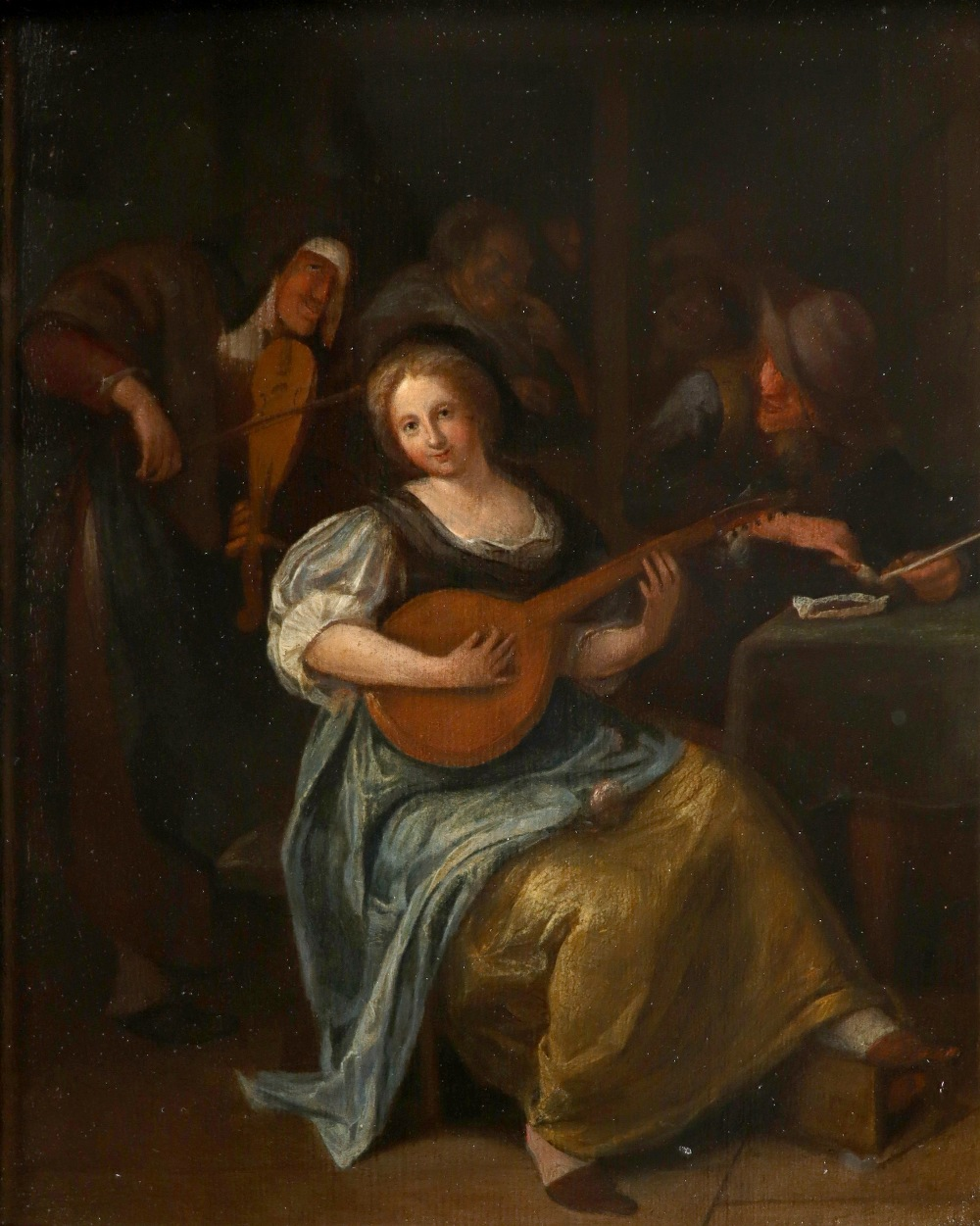 Circle of Jan Steen Tavern scene with a young woman playing a lute Oil on panel 29 x 23.5cm; 11½ x