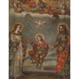 Cuzco School The heavenly and earthly trinities Oil on canvas 41 x 32.8cm; 16¼ x 13in