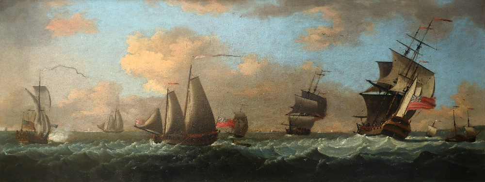 Francis Swaine (1725-1782) An admiral yacht, man-o-war and other ships in coastal waters Oil on