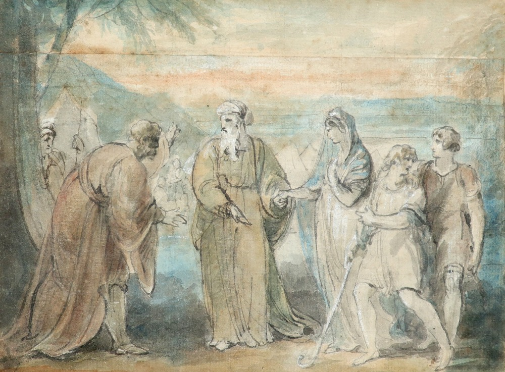 William Hamilton RA (1751-1801) The spies return from Canaan; Figures by an encampment Two, both pen - Image 4 of 6