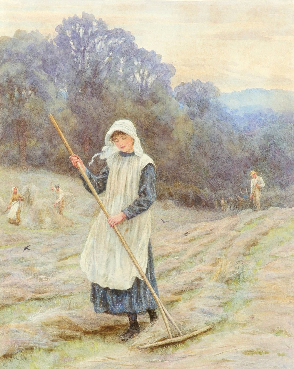 Helen Allingham RWS (1848-1926) Haymaking Signed H Allingham (lower left) Pencil and watercolour