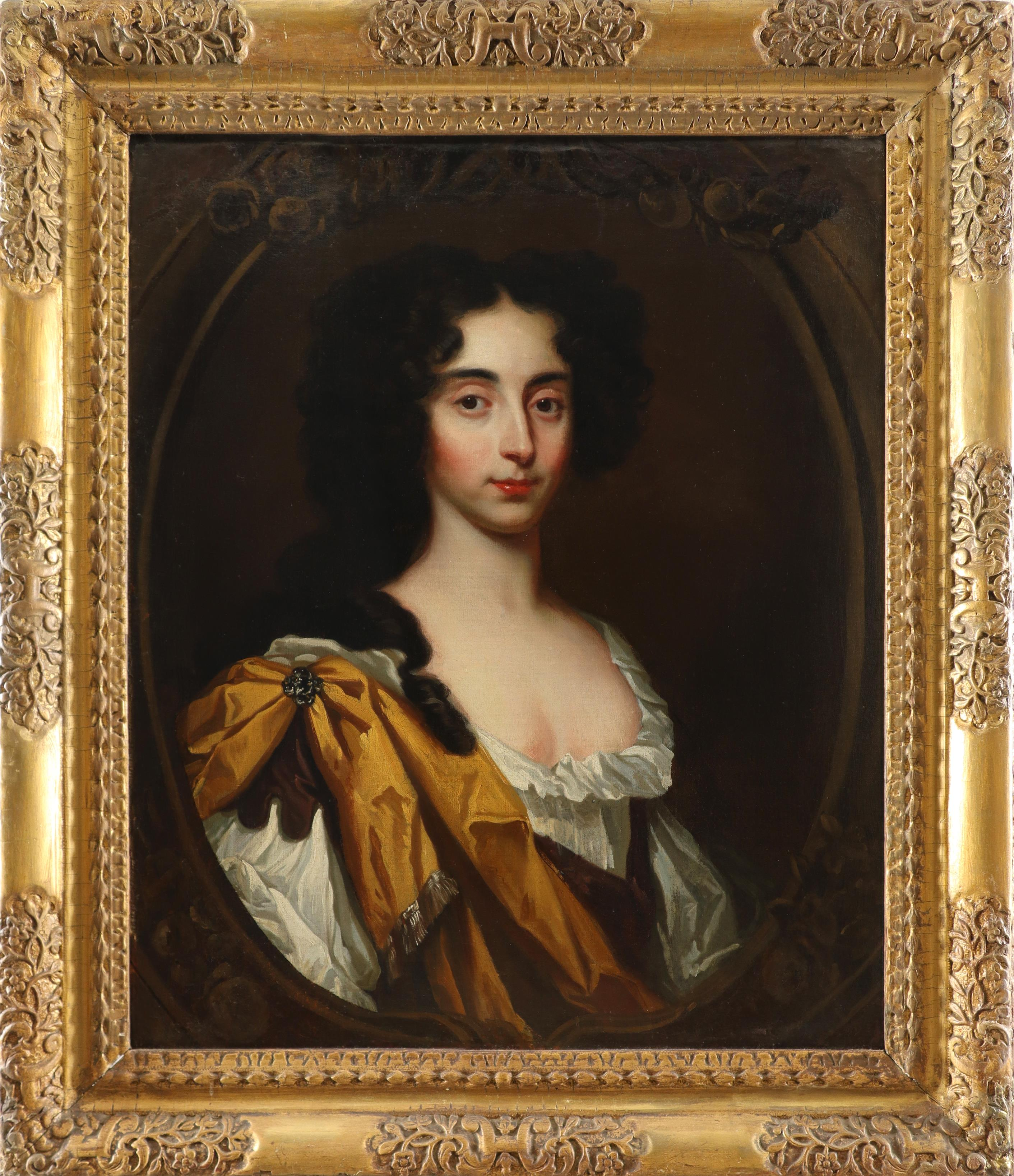 Circle of Mary Beale Portrait of Henrietta Walker, half-length, wearing a gold wrap in a painted - Image 2 of 3