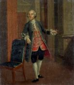 Circle of Arthur Devis Portrait of a gentleman, full-length, in a green coat and red waistcoat,