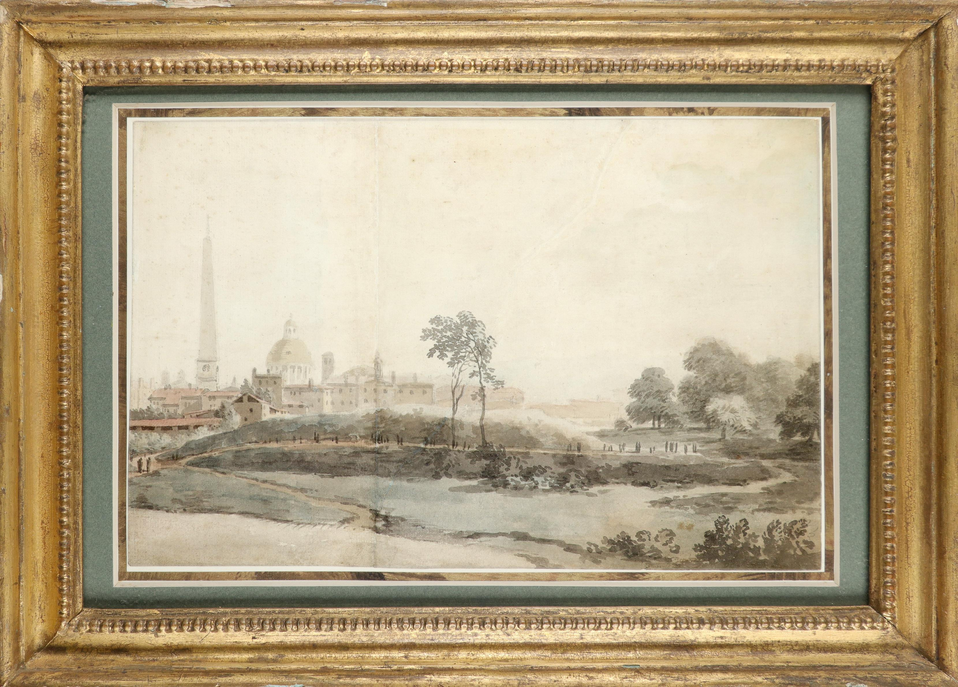 Attributed to William Taverner (1703-1772) A view of Rome with St. Peter's from outside the walls - Image 2 of 3