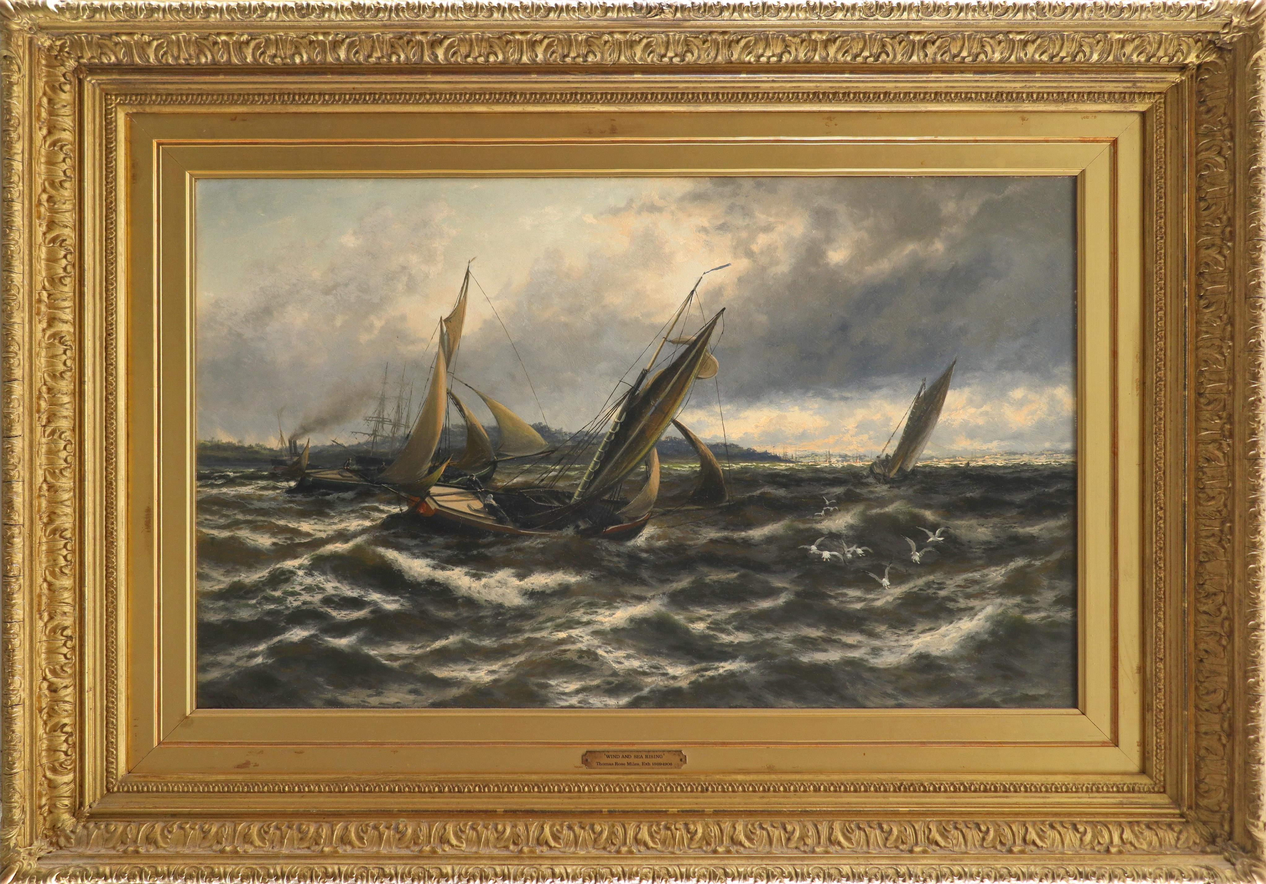 Thomas Rose Miles RCA (act. 1869-1906) Wind and Sea Rising, off the Isle of Sheppey Signed T R Miles - Image 2 of 3