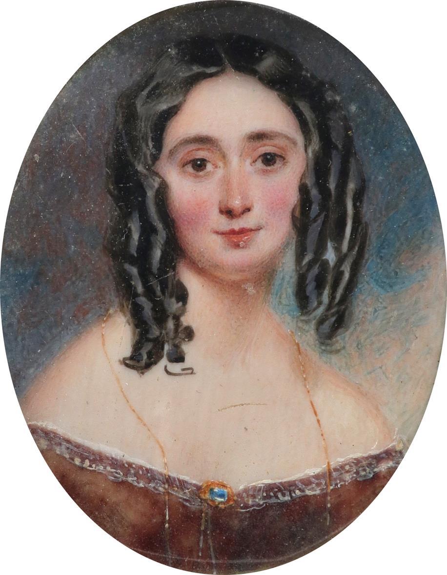 λFollower of William Egley Portrait miniature of a lady, wearing a brown dress with a gold brooch - Image 2 of 3