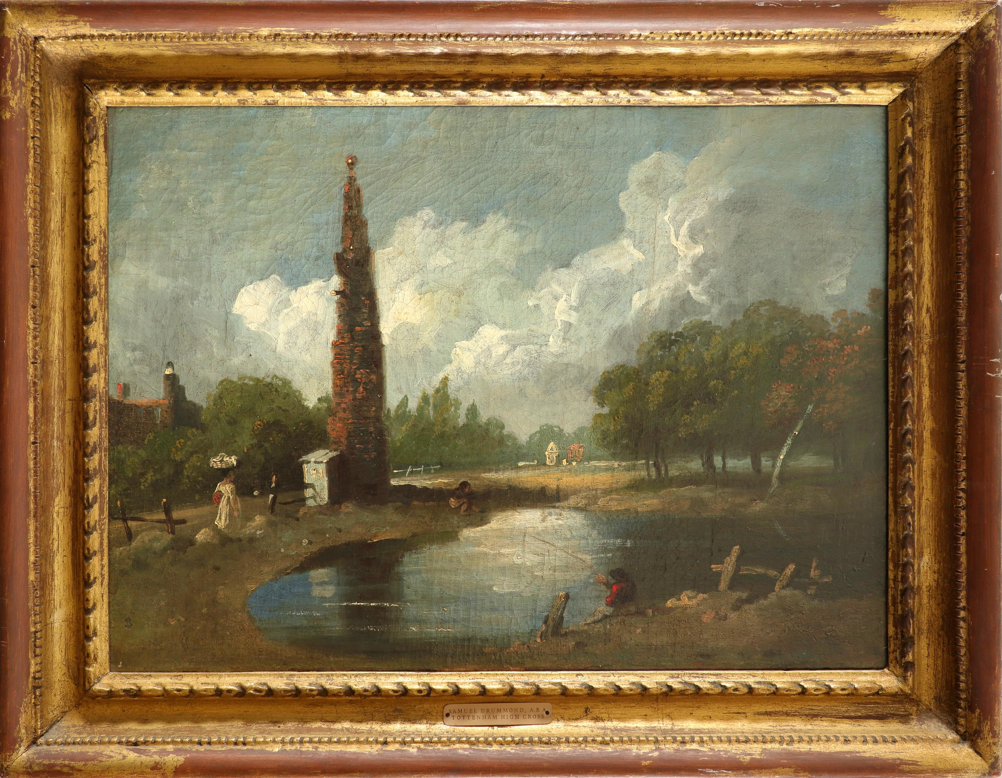 Samuel Drummond ARA (1765-1844) Tottenham High Cross with anglers and a woman carrying a basket on - Image 2 of 3