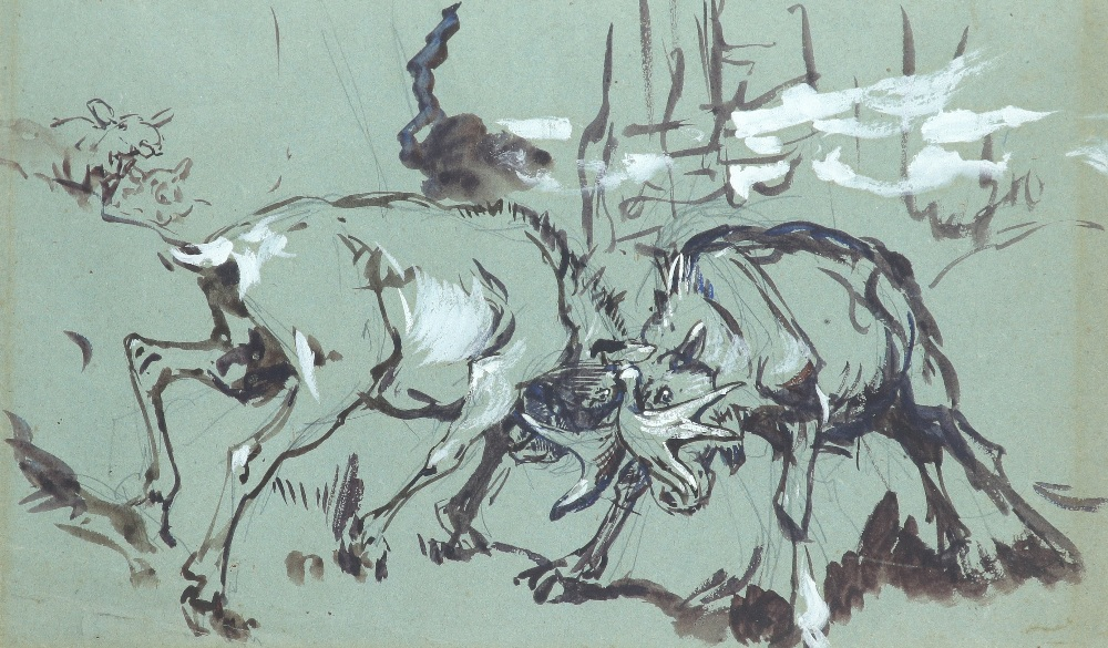 Alfred William Strutt (1856-1924) Study of stags rutting; Study of a reindeer Two, the latter