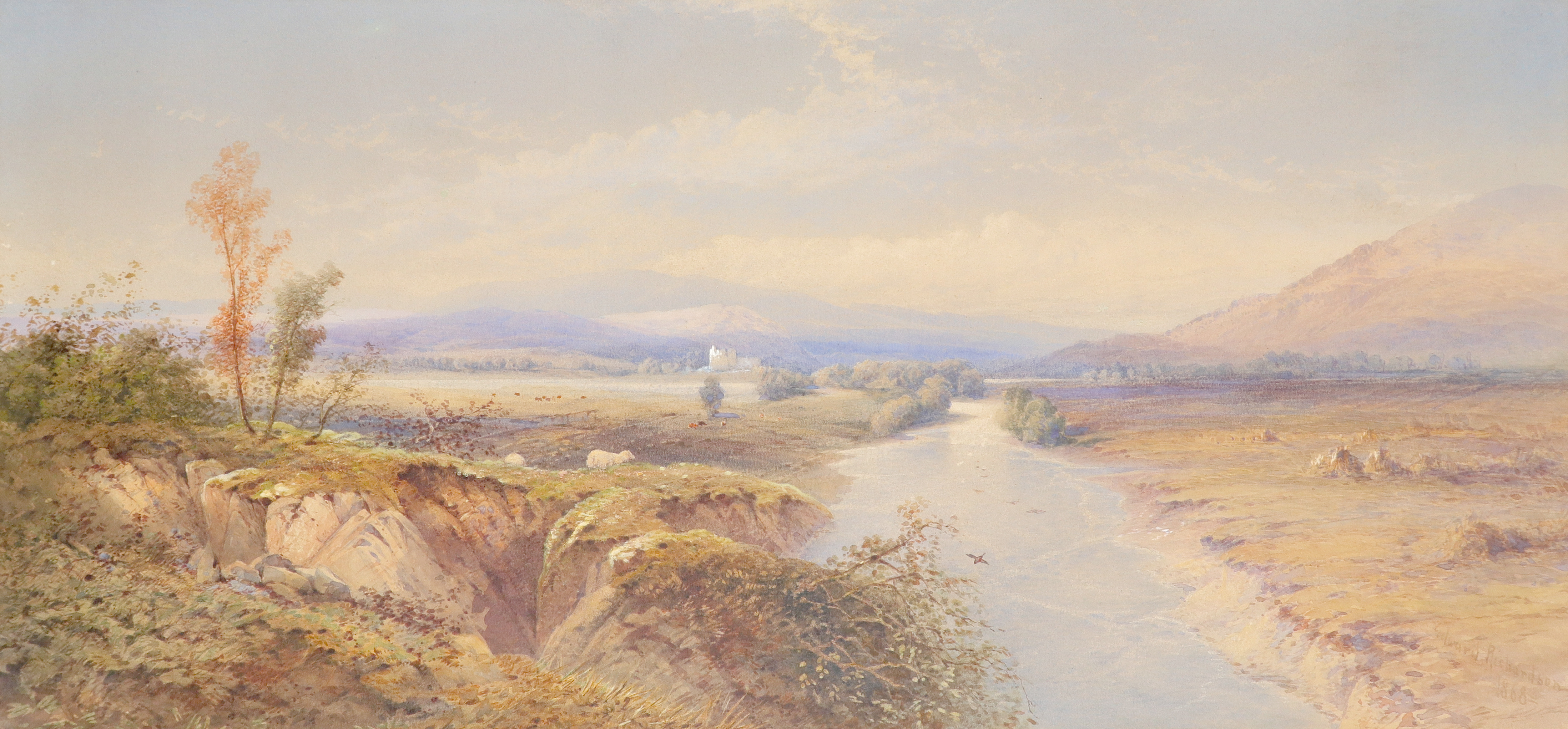 Edward M. Richardson ANWS (1810-1874) A view of Loch Awe with Kilchurn Castle in the distance Signed