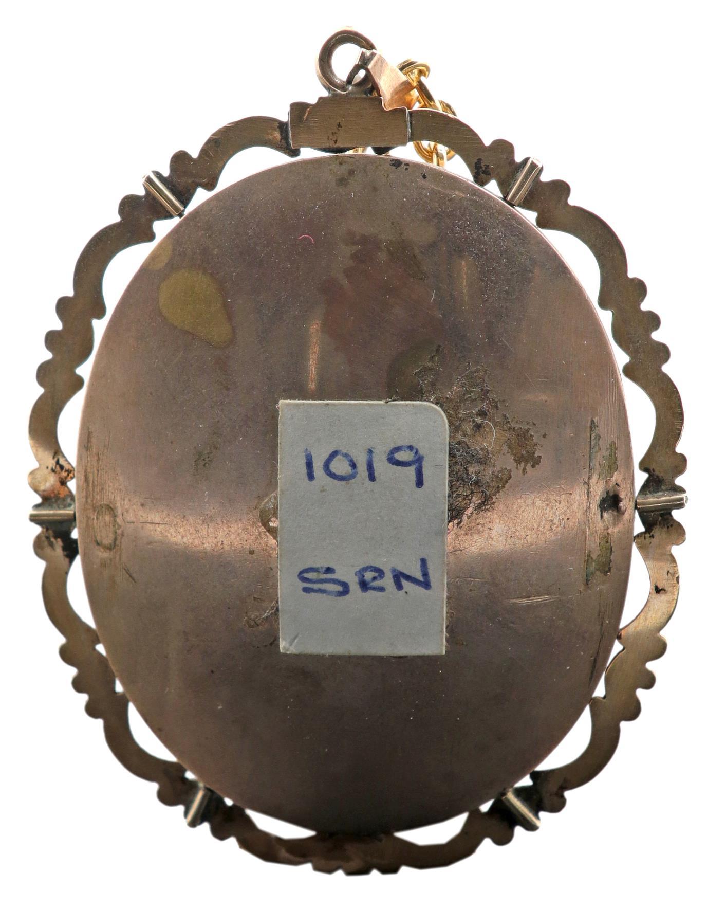 λFollower of William Egley Portrait miniature of a lady, wearing a brown dress with a gold brooch - Image 3 of 3