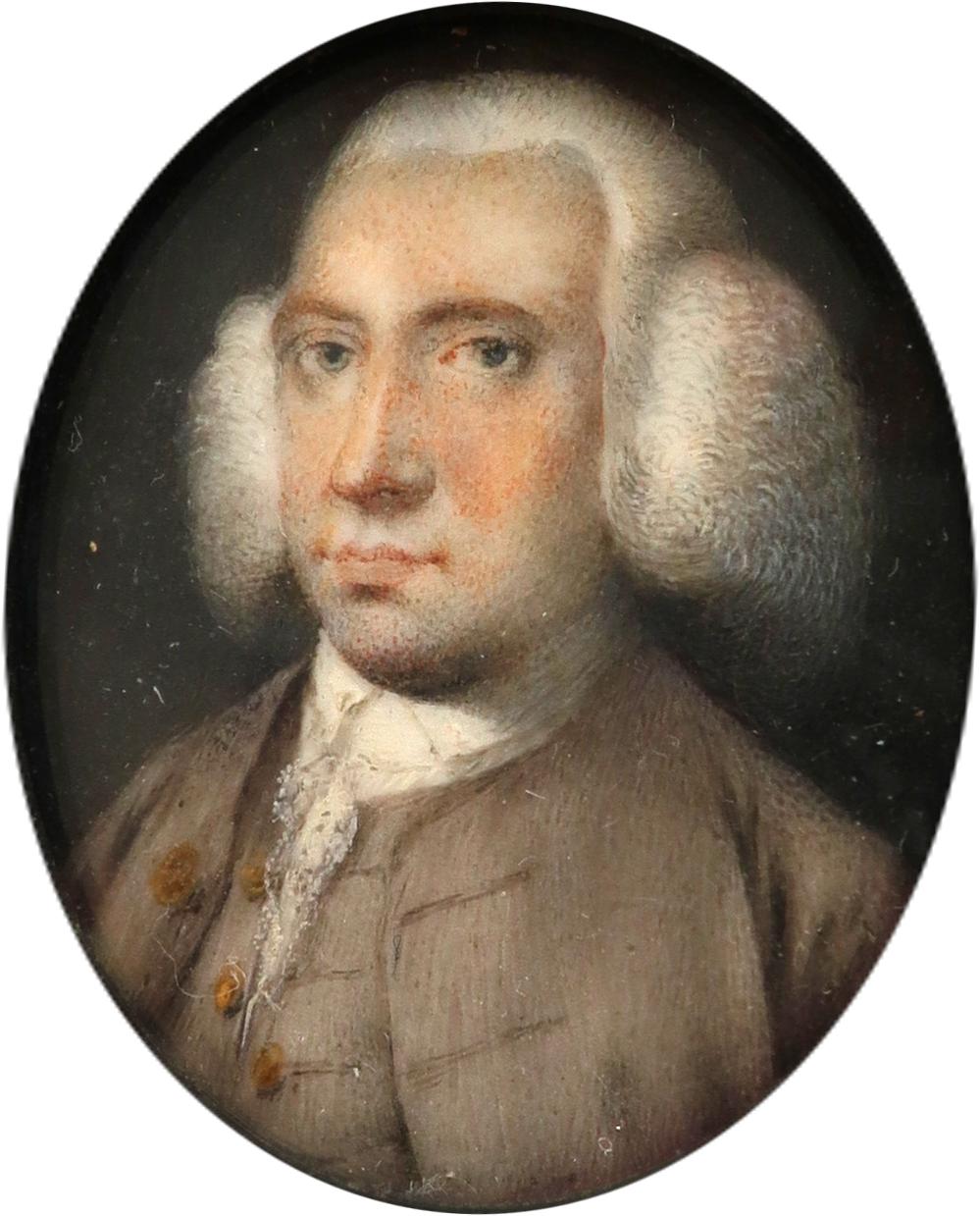 λAttributed to Robert Bowyer (1758-1834) Portrait miniature of a gentleman, wearing a grey coat