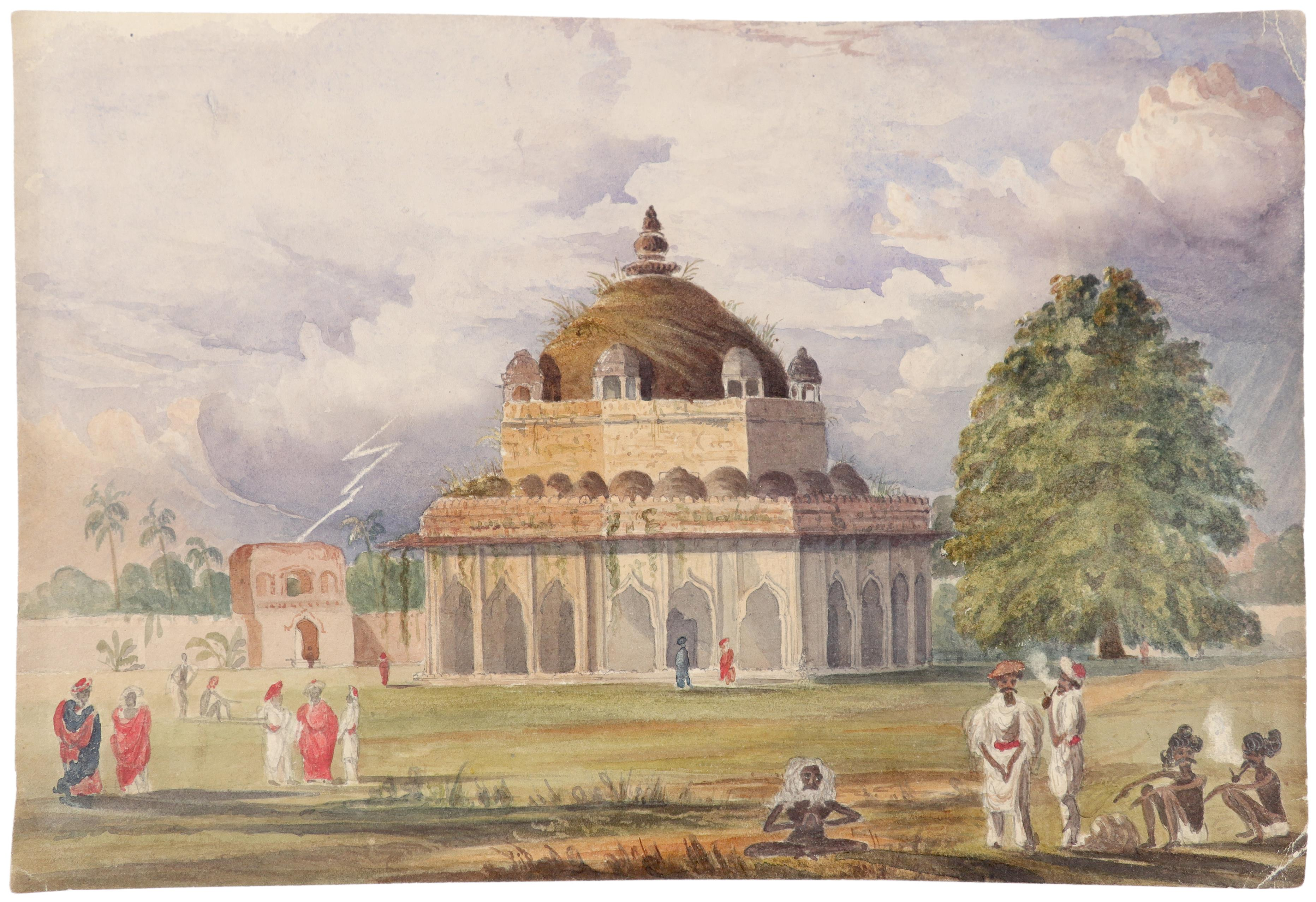 Anglo-Indian School 19th Century Figures by the Tomb of Sher Shar Suri Pencil and watercolour 21.5 x - Image 2 of 6