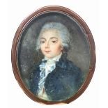 λContinental School 18th Century Portrait miniature of a gentleman wearing a blue coat, white