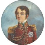 λFrench School c.1900 Portrait miniature of an officer, wearing a red coat, turned to the right;