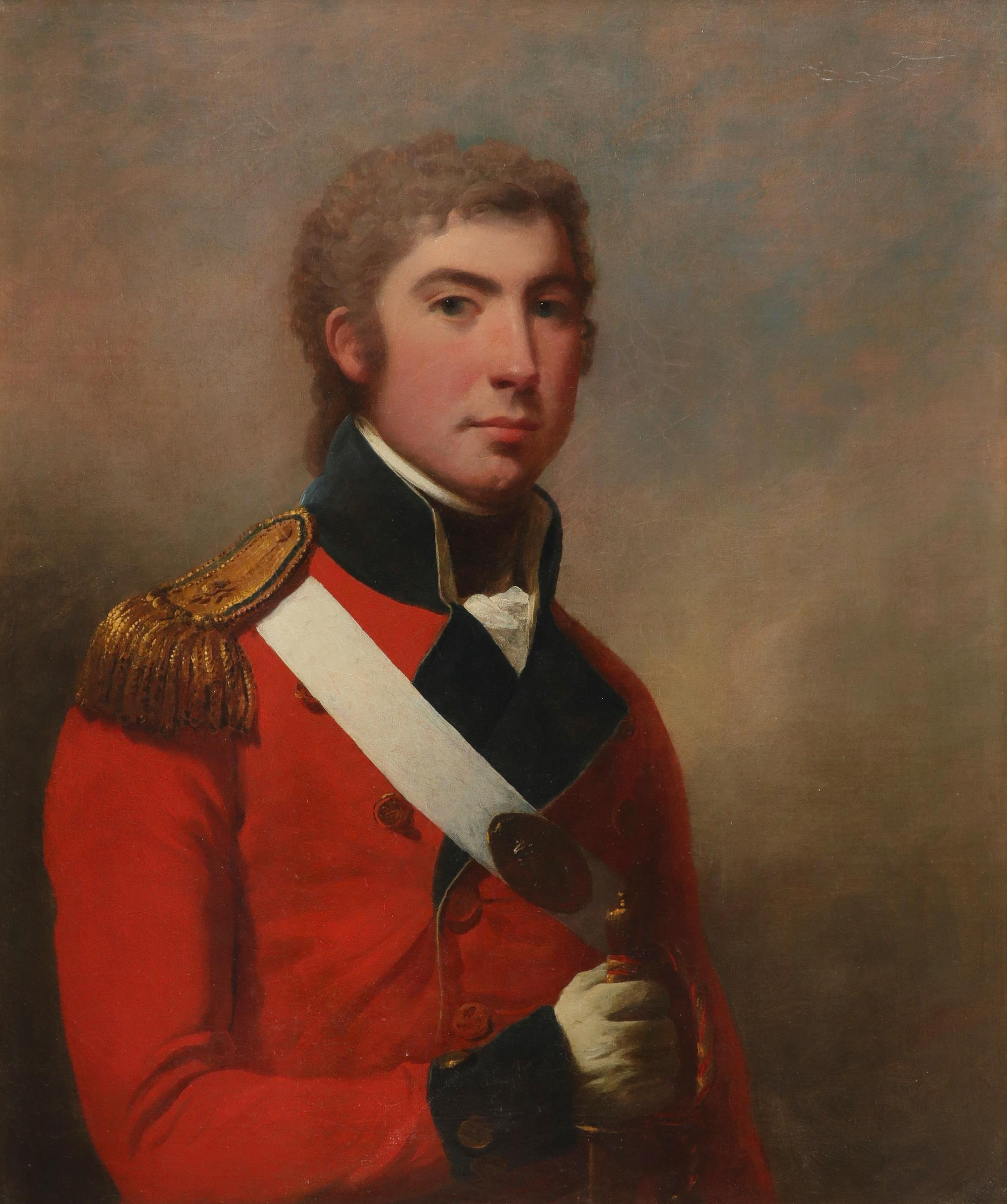 Attributed to Arthur William Devis (1762-1822) Portrait of young officer, half-length, in uniform