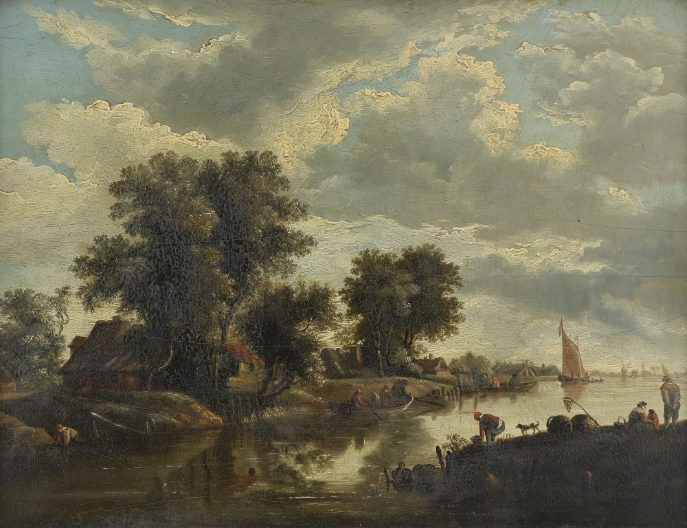 Dutch School 18th Century River landscape with figures fishing and boating Oil on panel 32.8 x 44.
