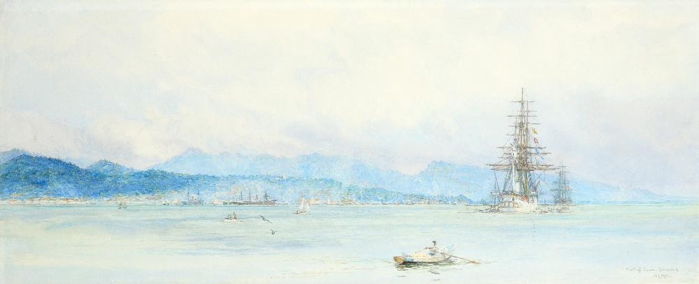 William Lionel Wyllie RA (1851-1931) View of Port of Spain, Trinidad Signed and inscribed Port of