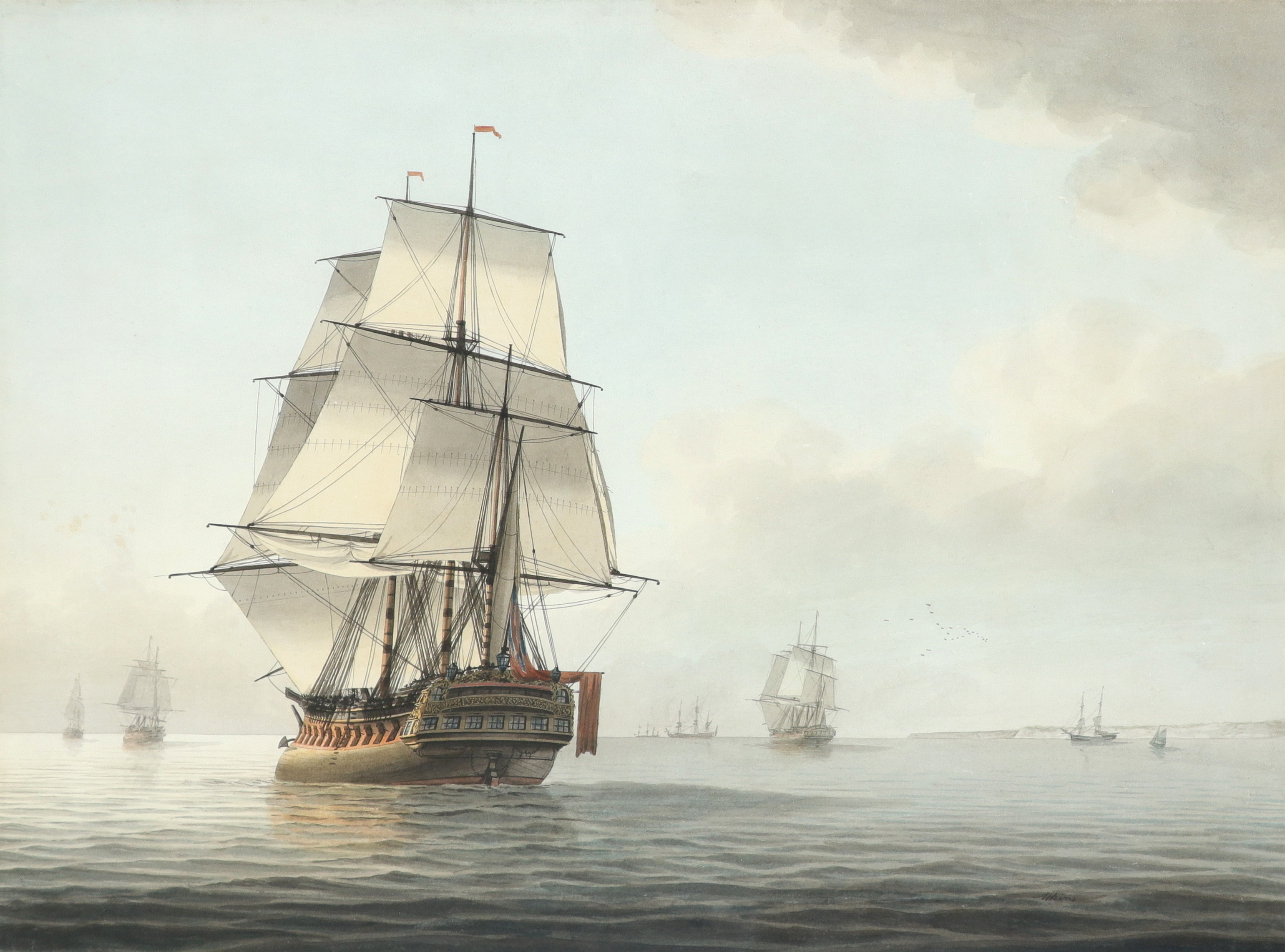 Samuel Atkins (act.1787-1808) A frigate and other shipping in calm waters Signed Atkins (lower