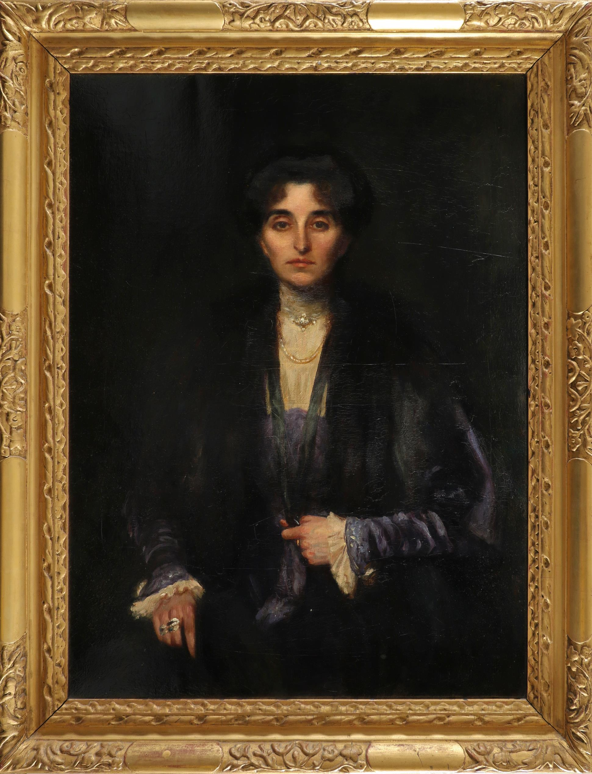 British School c.1900 Portrait of Nita Williams, three-quarter length, wearing a blue dress and - Image 2 of 3