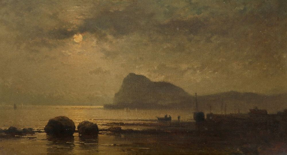 James Cassie RSA (Scottish 1819-1879) View of Holy Isle, by moonlight Signed with monogram and dated