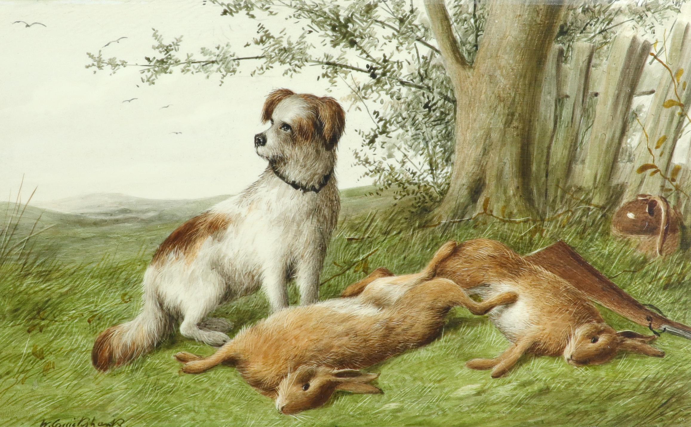 λWilliam Cruickshank (1848-1922) Hunter and his spaniel; Spaniel and two hares; The day's bag; Three - Image 4 of 12