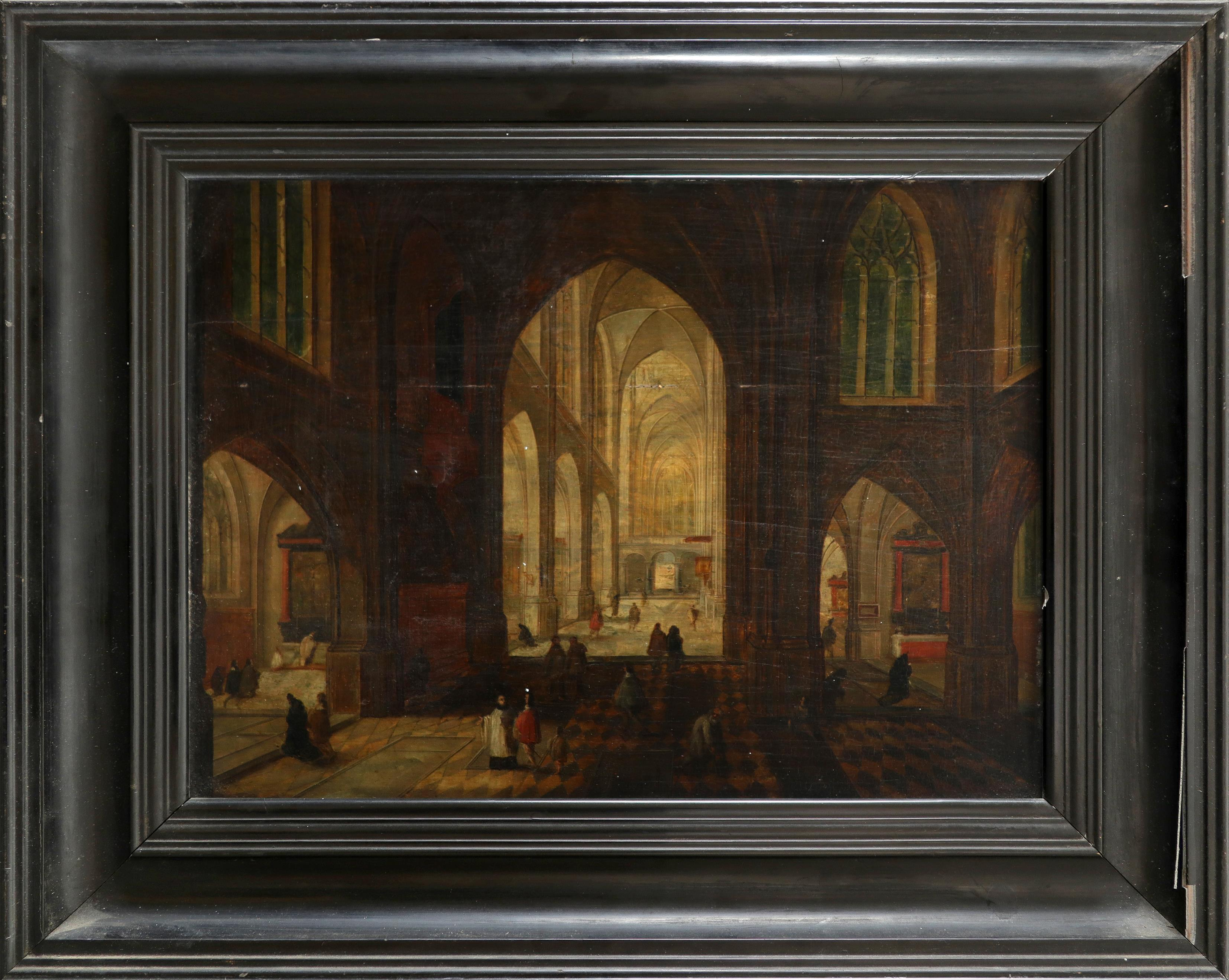 Circle of Pieter Neefs the Elder Interior of a cathedral at night Oil on panel 26.8 x 37cm; 10½ x - Image 2 of 3