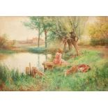 Alfred Augustus Glendening Jnr. (1861-1907) Two children resting by a pond Signed with monogram