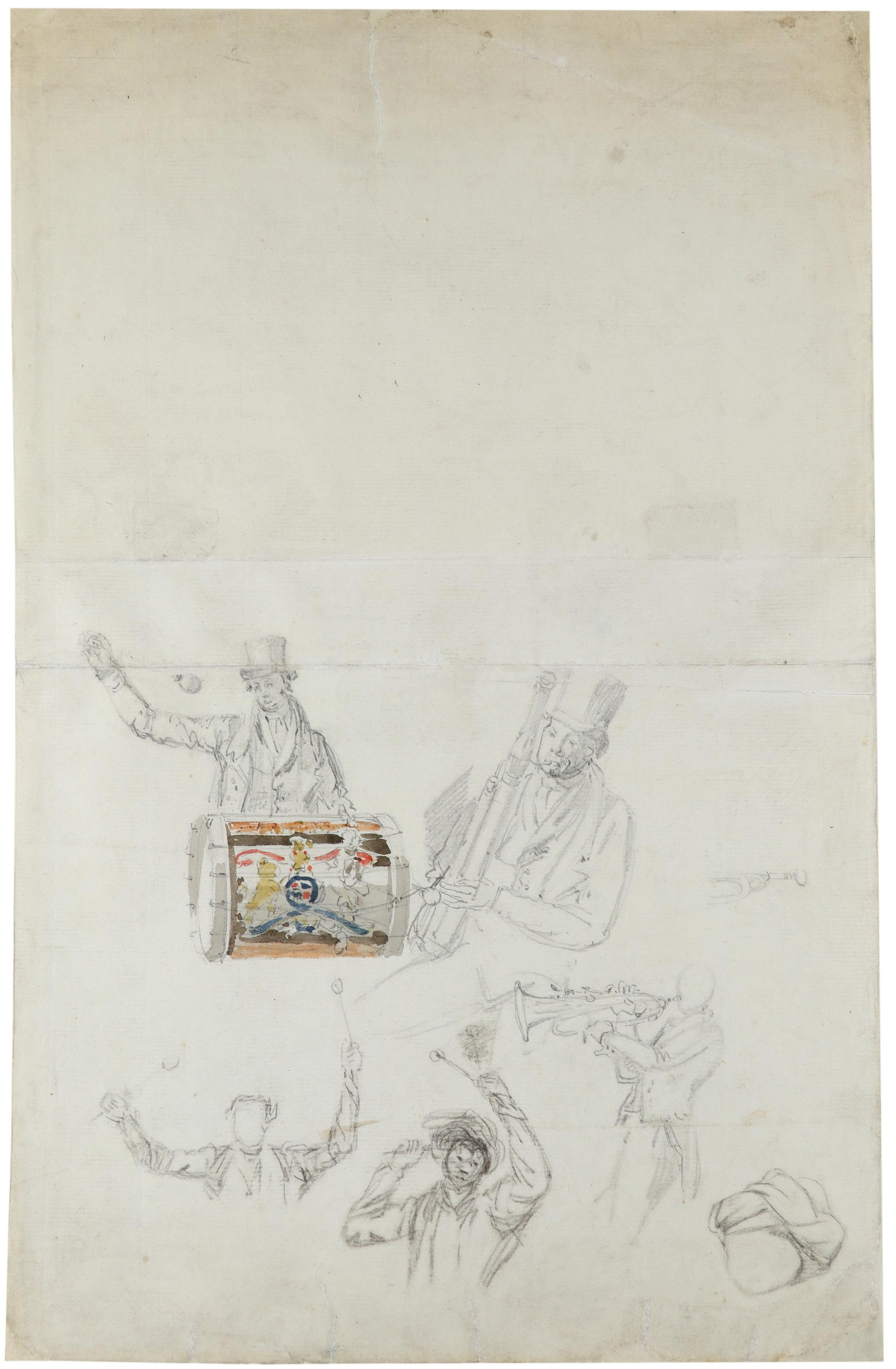 Circle of William Henry Pyne Studies of musicians (recto); Study of figures and a fishing boat ( - Image 2 of 3