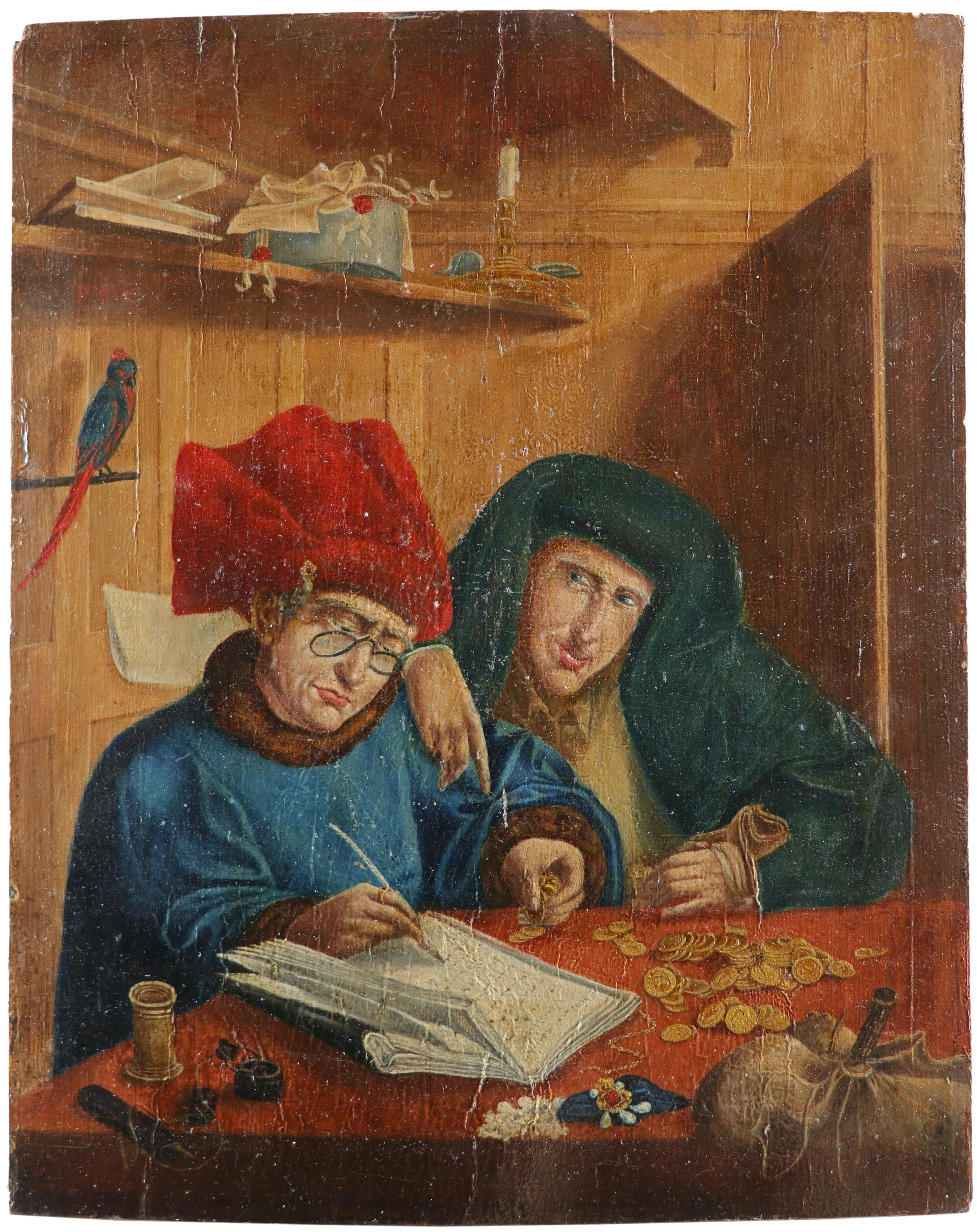 After Marinus van Reymerswale Two tax collectors Oil on panel 35.5 x 28.4cm; 14 x 11¼in Unframed - Image 2 of 3