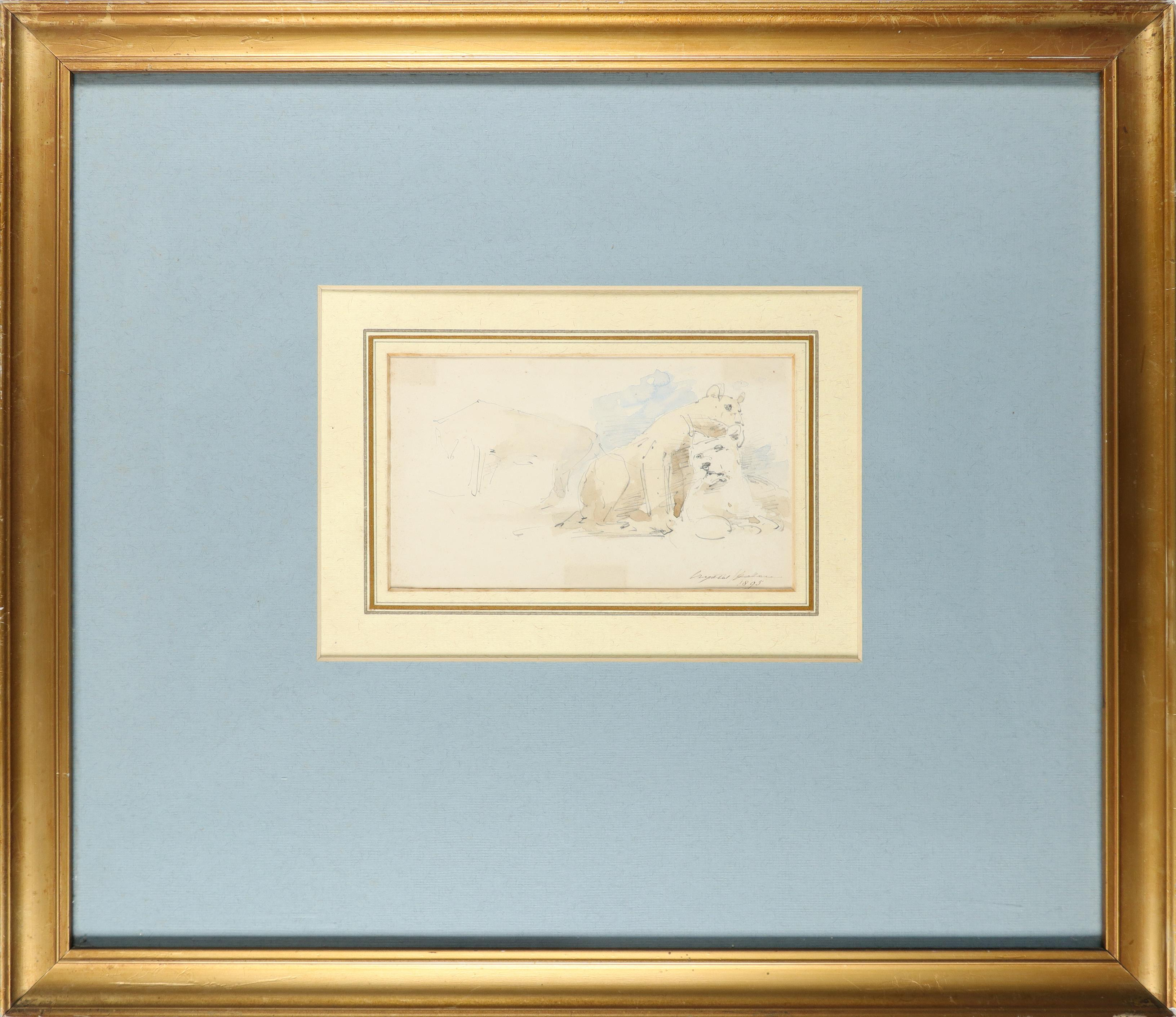 William Strutt RBA (1825-1915) Study of two lionesses; Lioness and lion; Study of two recumbent - Image 8 of 9