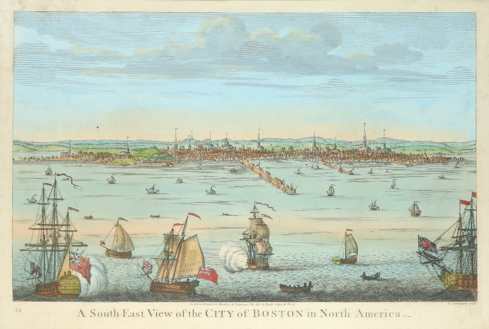 John Carwitham (act. 1723-1741) A South-East View of the City of Boston in North America Engraving