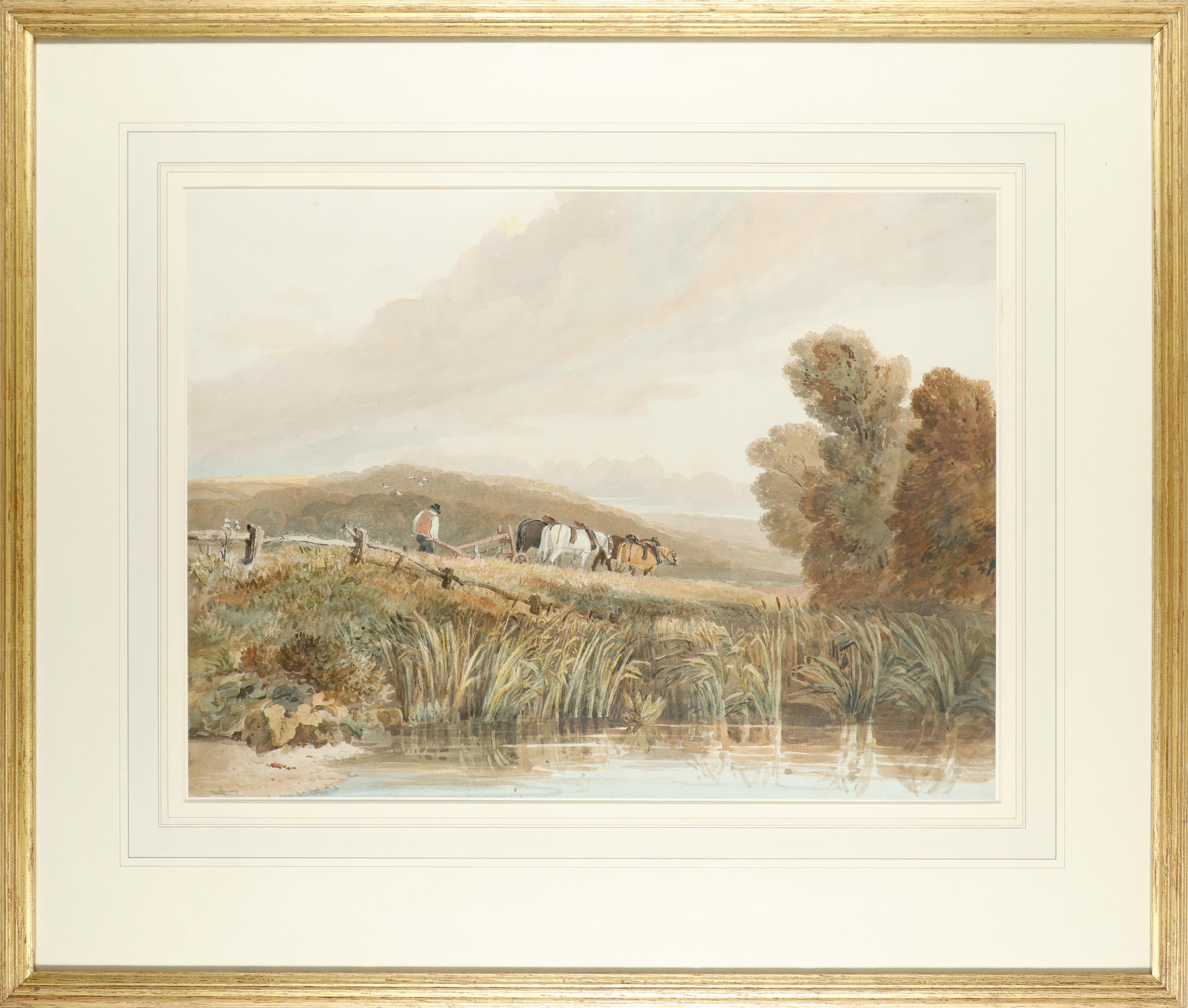David Cox Snr. RWS, OWS (1783-1859) Ploughing Signed D. Cox (to verso) Pencil and watercolour 38.5 x - Image 2 of 3