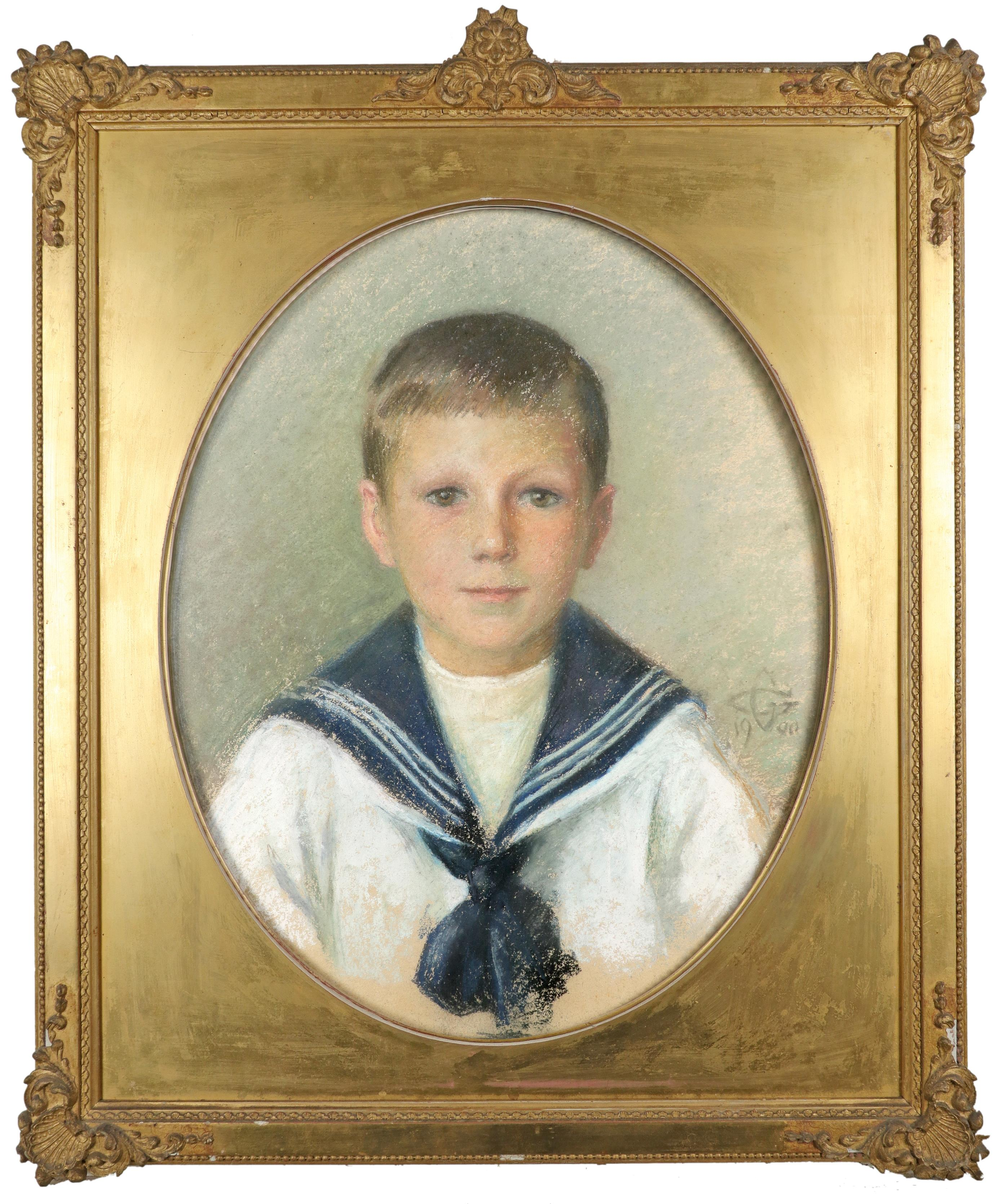 British School 1900 Portrait of a boy in a sailor suit; Portrait of a girl in a blue dress with lace - Image 2 of 6