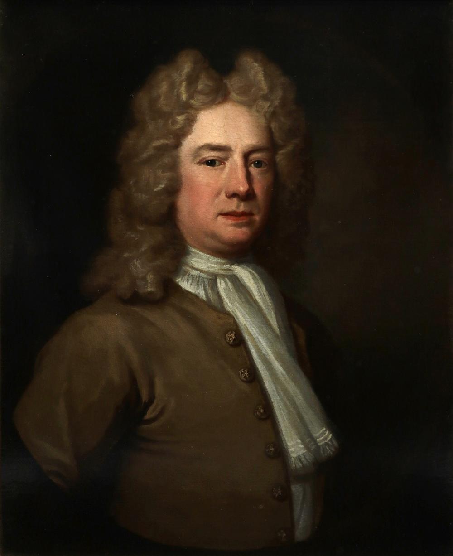 Attributed to Richard van Bleeck (Dutch 1670-1733) Portrait of a gentleman wearing a brown coat,