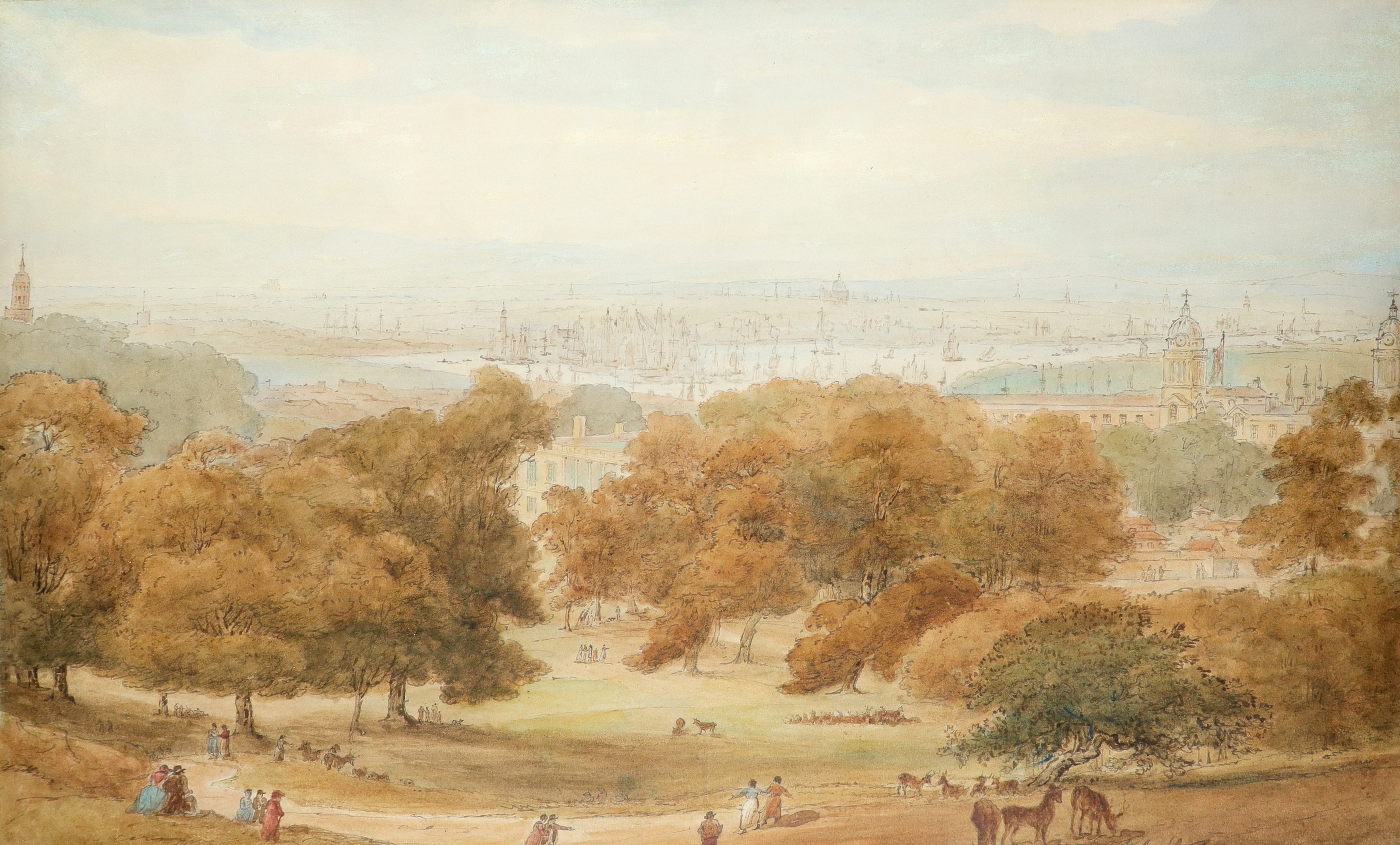 William Daniell RA (1769-1837) A view of Greenwich Park near the Royal Observatory, with St. Paul'
