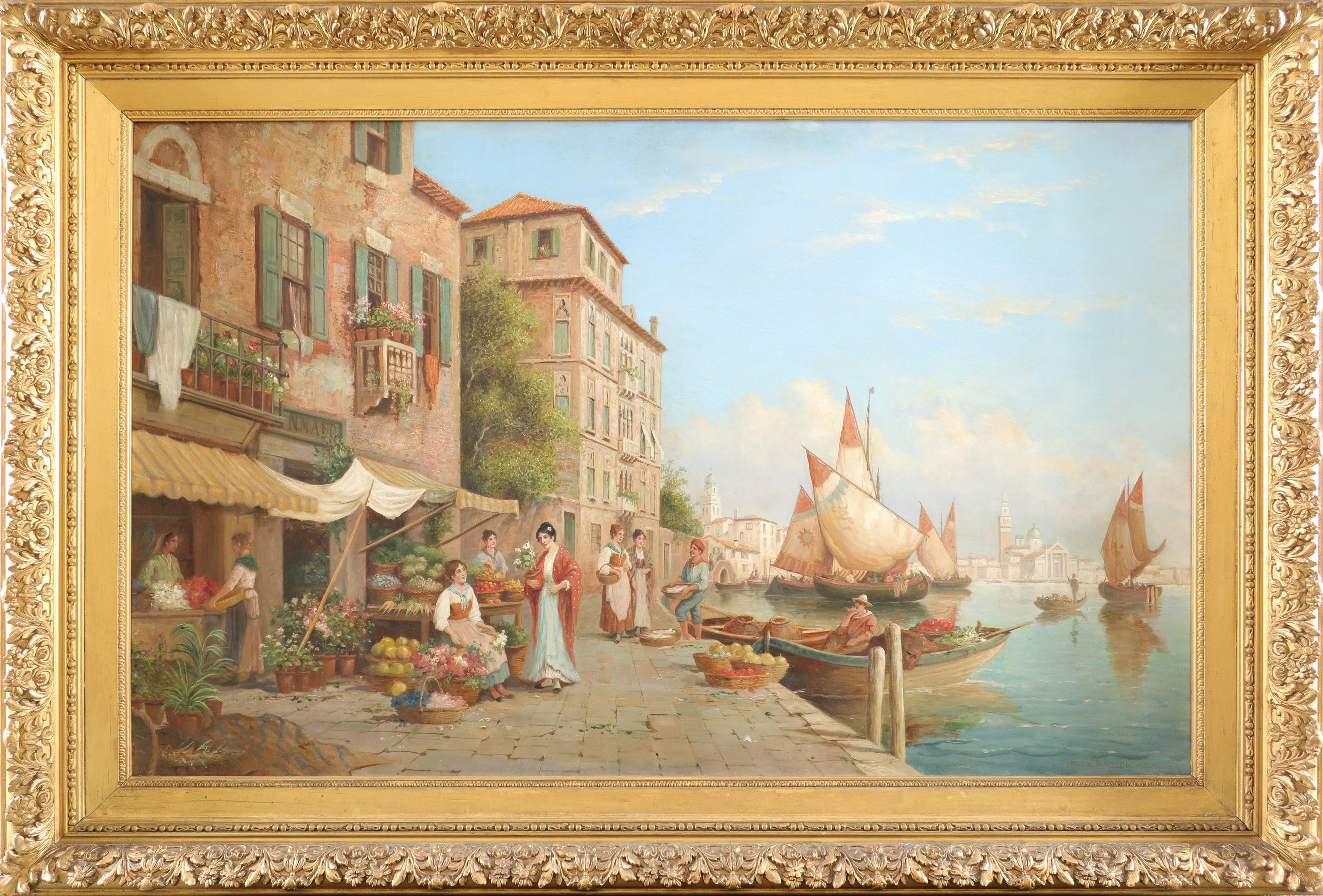 Arthur Trevor Haddon RBA (1864-1941) A view of Venice with flower, fruit and fish sellers Signed - Image 2 of 3