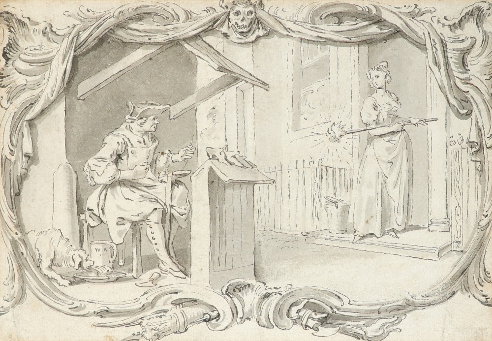 Hubert-François Gravelot (French 1699-1773) A cobbler in his stall with a maid at a doorway Pen