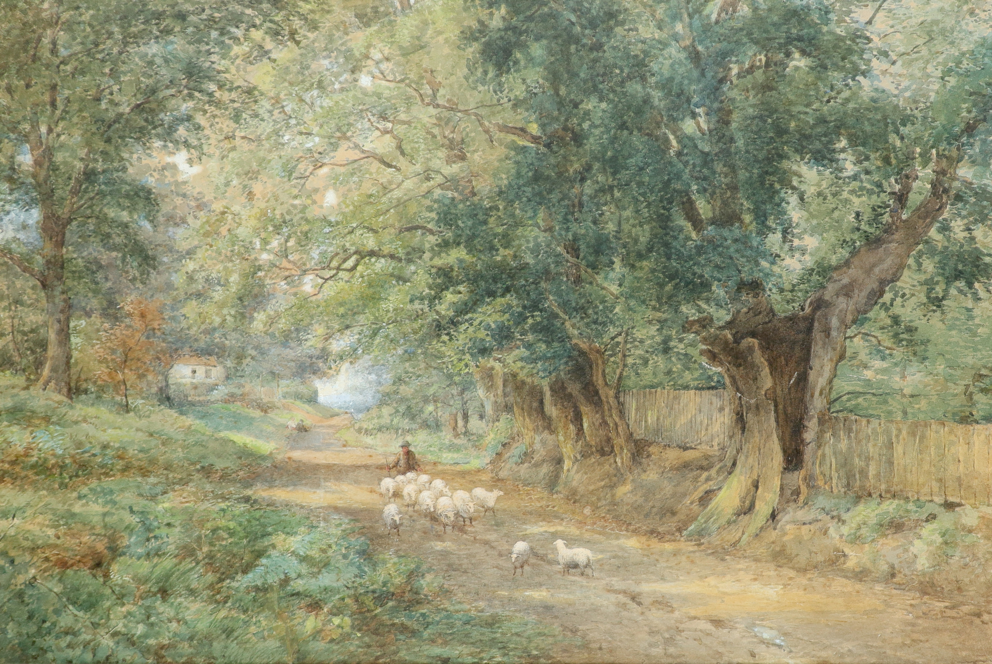 English School 19th Century A shepherd and his flock on a country road Pencil and watercolour
