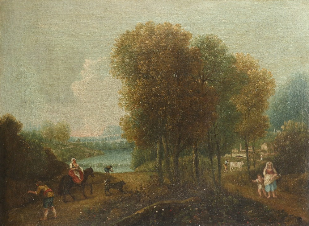 Italian School c.1800 Italianate wooded river landscape with figures and a town in the distance