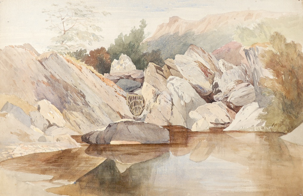 Harry John Johnson (1826-1884) Salmon trap on the rapids of the Llugwy, North Wales; Landscape - Image 7 of 9