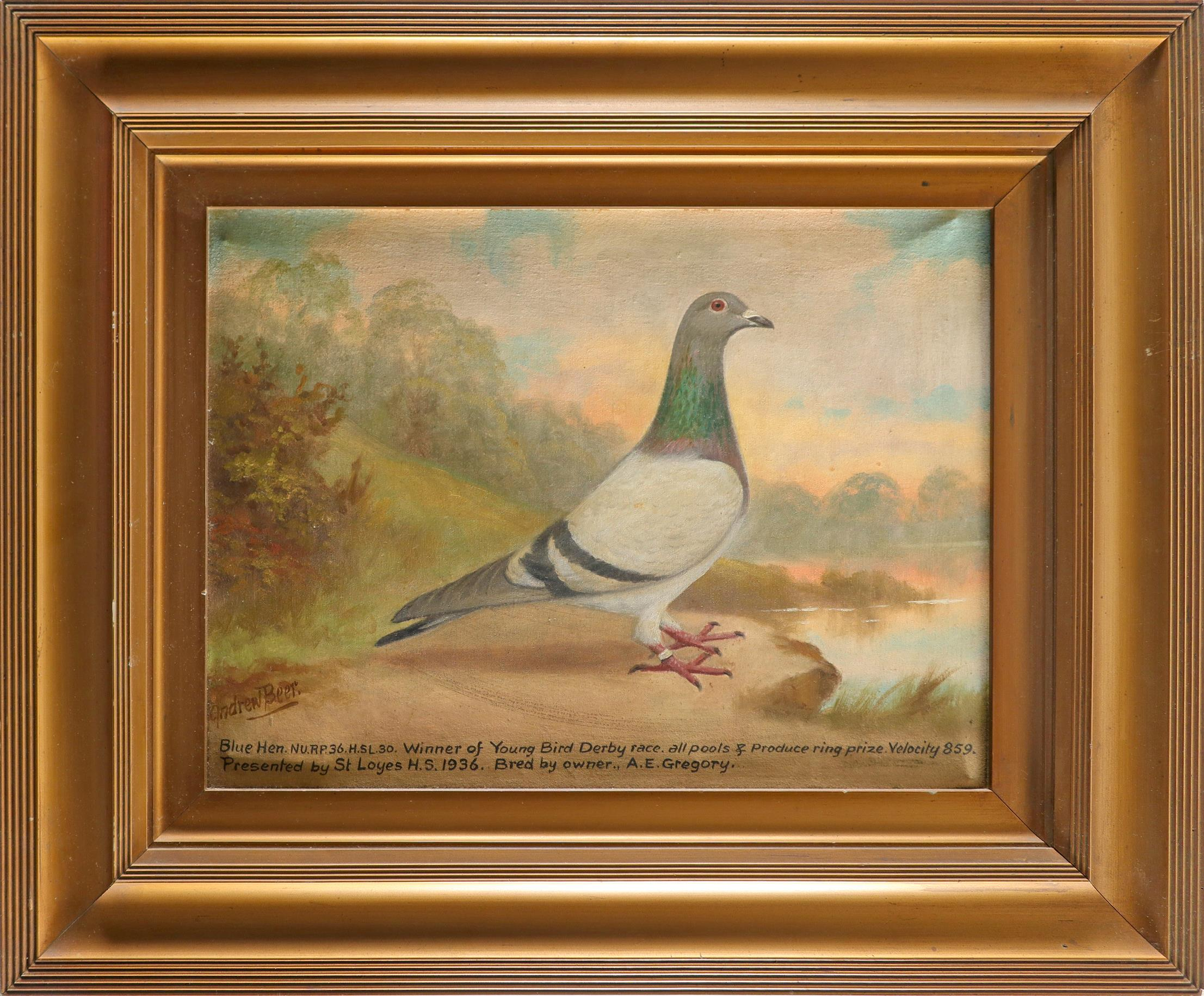 ‡Andrew Beer (1862-1954) Portrait of a blue hen racing pigeon Signed Andrew Beer (lower right) and - Image 2 of 3