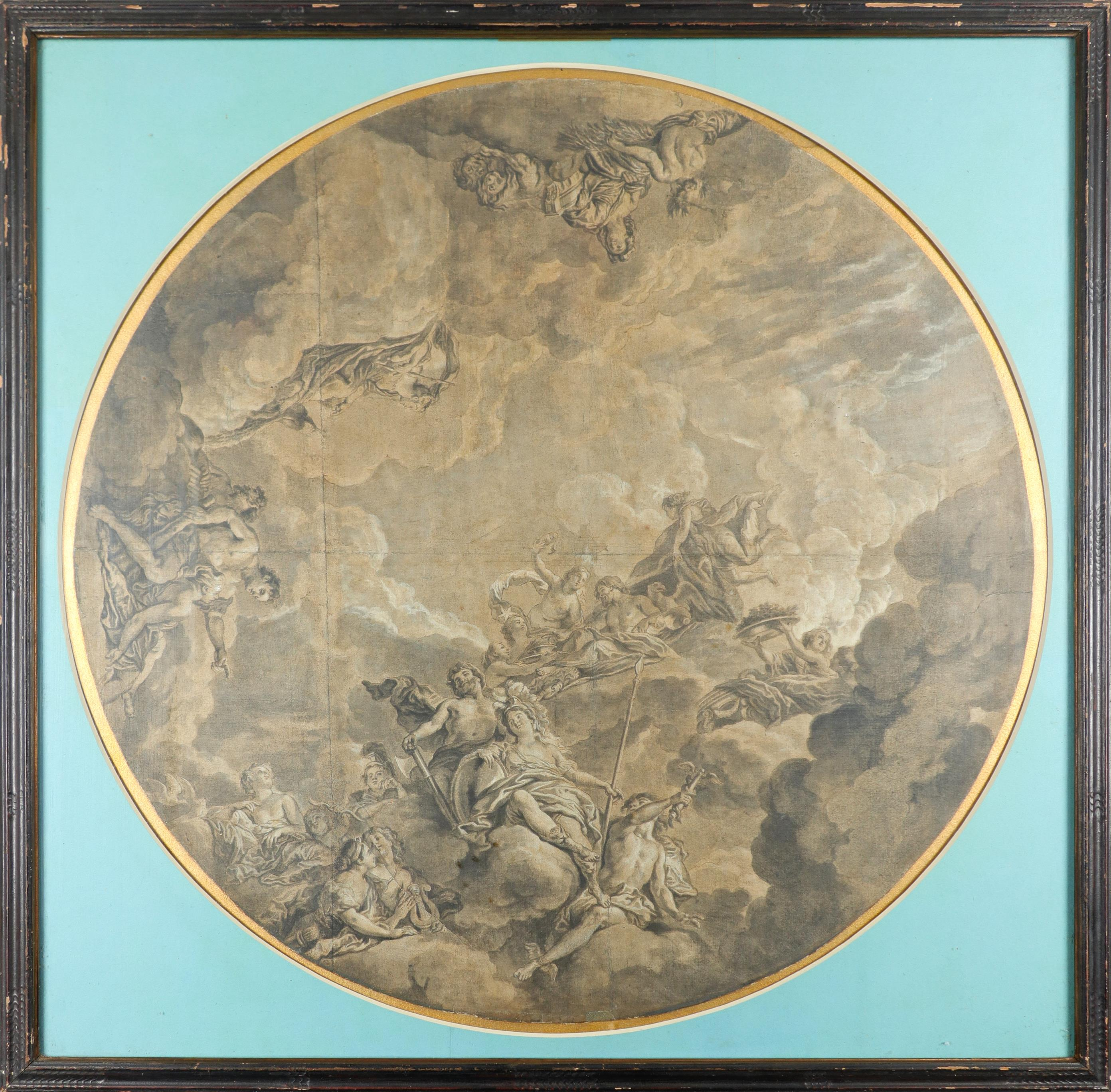 Circle of Jean-Charles Delafosse Ceiling design depicting an assembly of the gods Pencil and wash, - Image 2 of 3